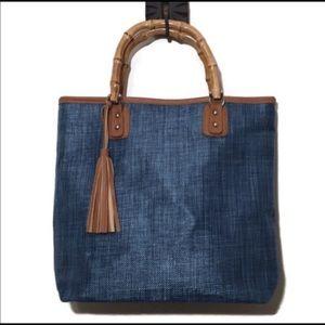 Handbags - NWOT Blue waxed linen tote